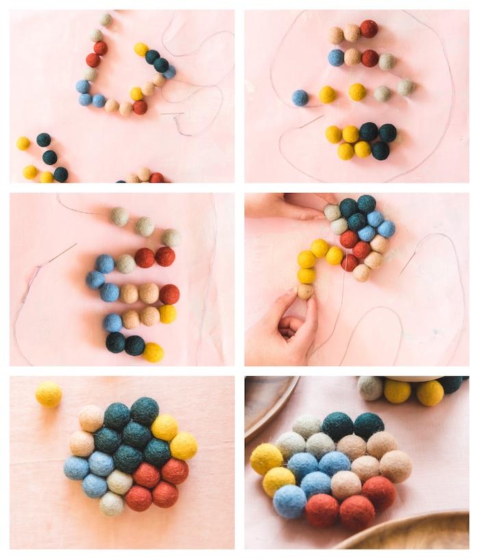pasos para hacer posavasos coloridos y originales en forma de hexágono, ideas de manualidades para regalar con tutoriales