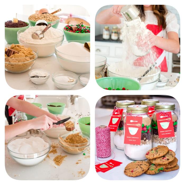 ingredientes y pasos para hacer una mezcla de galletas navideñas para regalar, ideas de regalos temáticos para navidad