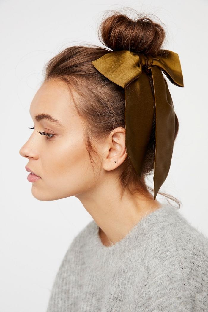 peinados faciles paso a paso, adorable recogido con bonita cinta, recogidos mujer originales