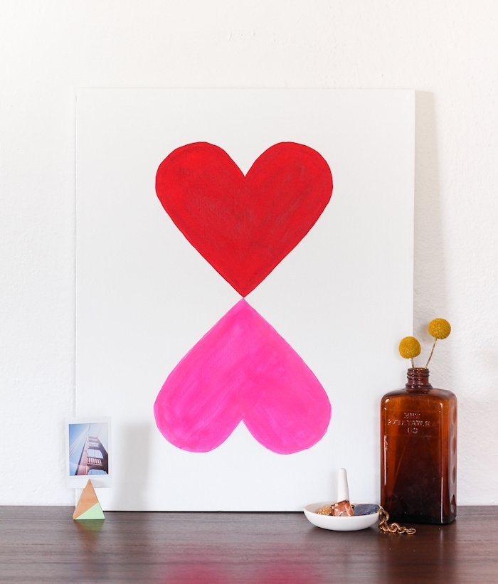 decoracion pared salon original, cuadros decorativos hechos a mano, cuadro con dos corazones