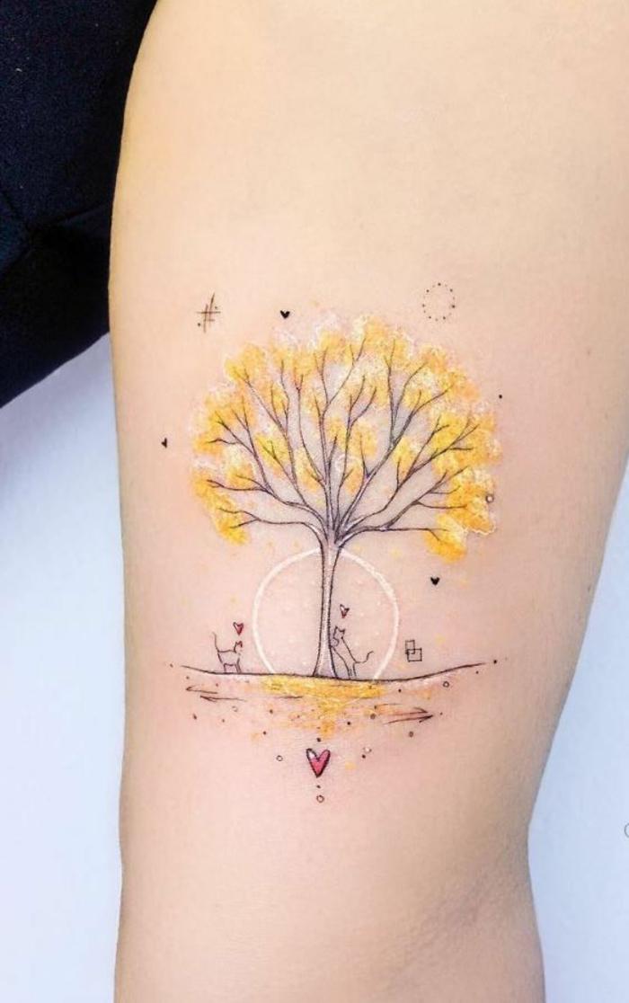 diseños de tatuajes color acuarela, tatuaje con fuerte significado, tattoo árbol en color amarillo