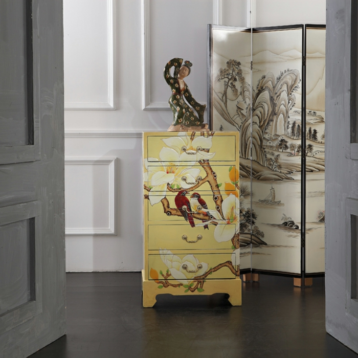 interesantes propuestas sobre muebles pintados a la tiza, armario pequeño pintado en amarillo