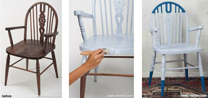 como pintar una silla paso a paso, restauración de muebles con pintura de tiza paso a paso