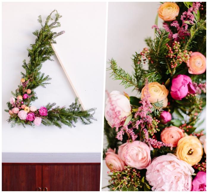 corona de flores hecha a mano paso a paso, decoracion pared salon con flores, ideas para la primavera