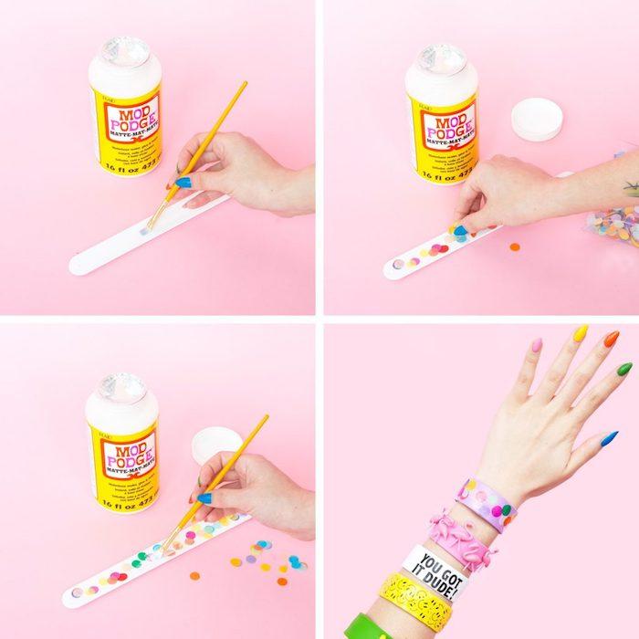 como hacer pulseras coloridas con Mod Podge paso a paso, ideas regalos para amigas