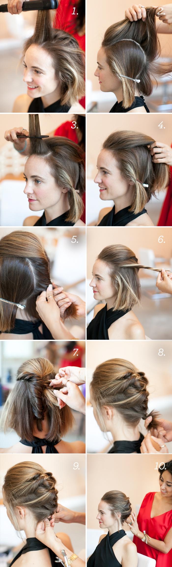 ideas de peinados pelo corto en tutoriales, como hacer recogidos sencillos paso a paso