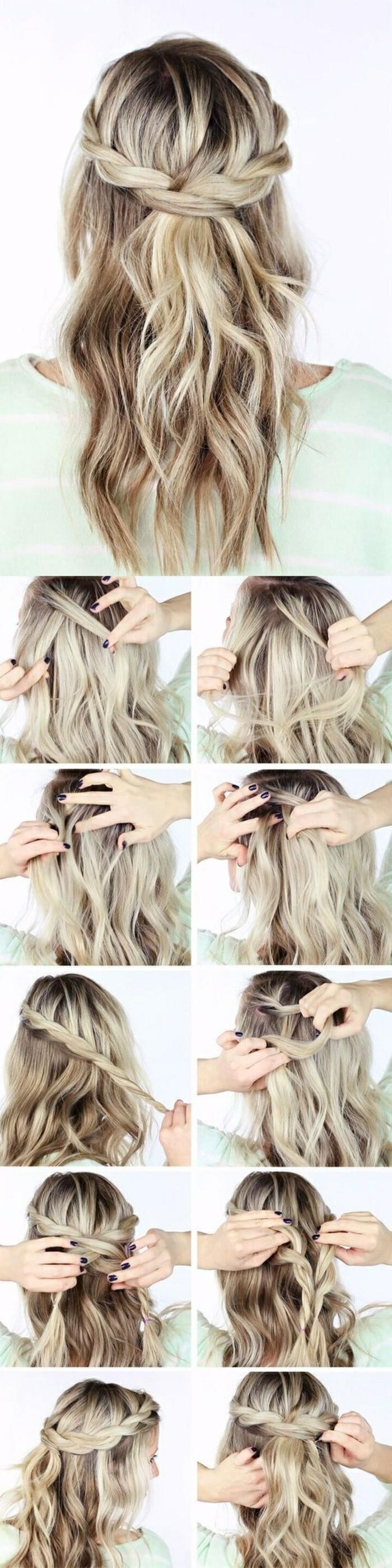 cómo hacer un semirecogido trenzado paso a paso, recogidos sencillos para pelo largo