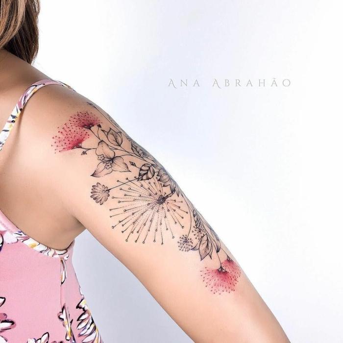 diseños únicos de tatuajes de flores, tatuaje brazo color rojo, ideas de tatuajes originales