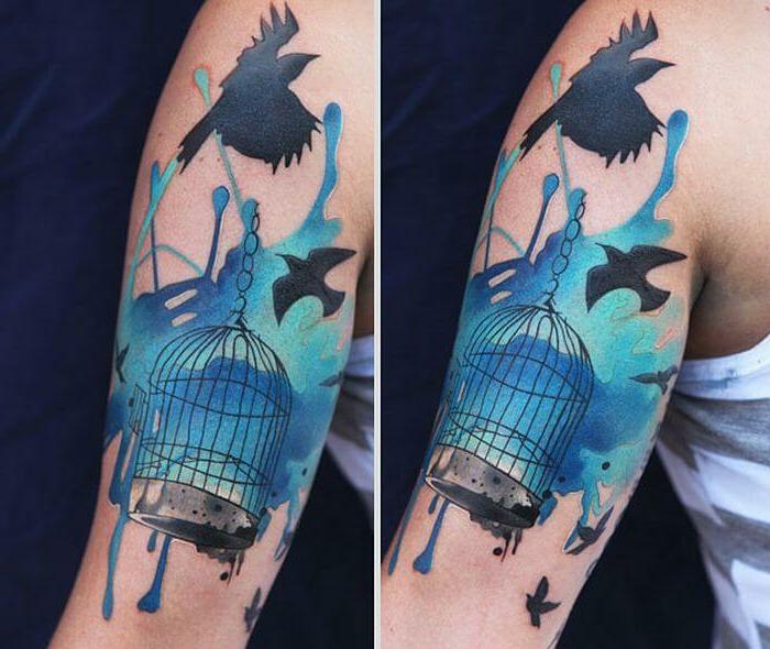 estilos de tatuajes originales y modernos, diseños de tatuajes artísticos con manchas de colores