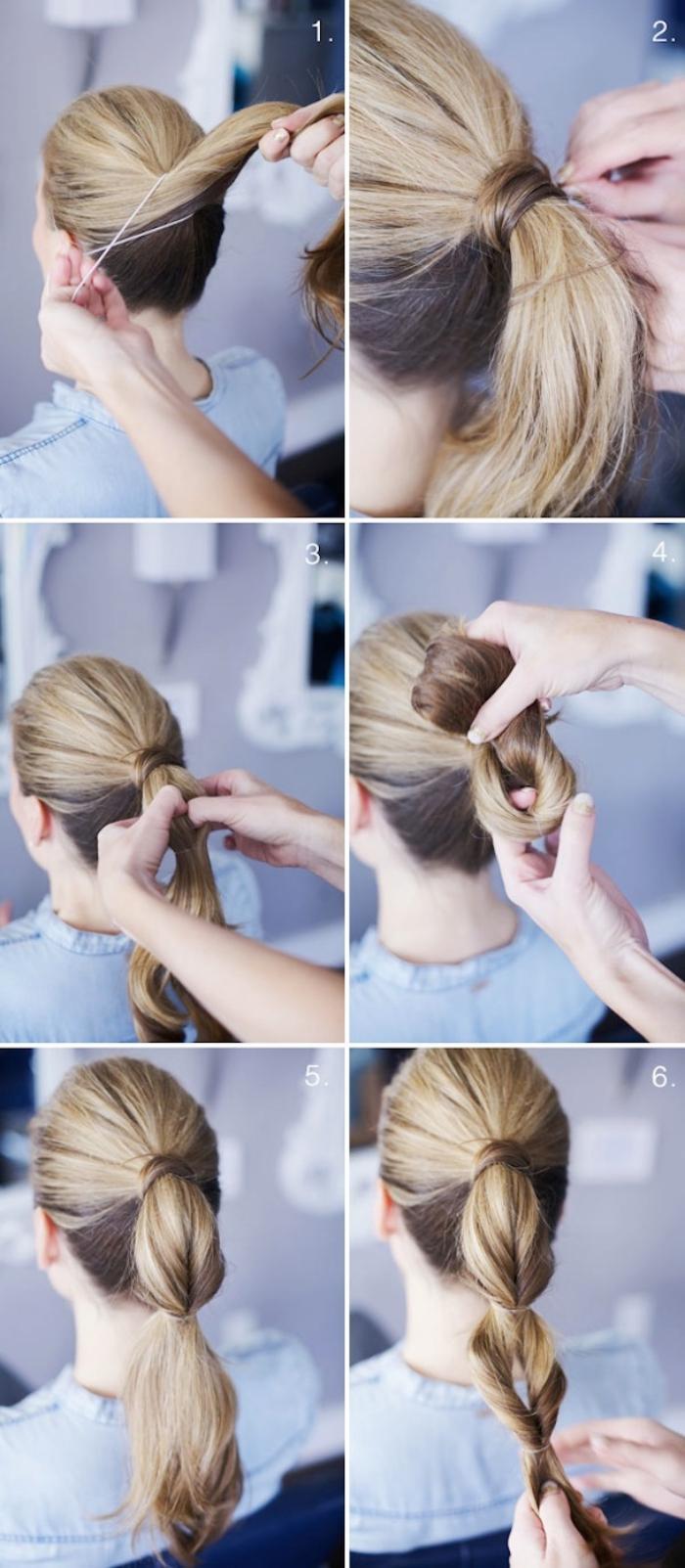 ideas de peinados faciles de hacer y modernos, coleta burbuja pelo largo paso a paso