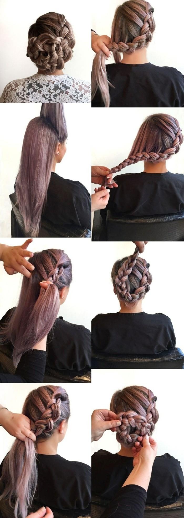 como hacer un recogido trenzado paso a paso, peinados faciles de hacer y originales en imagines