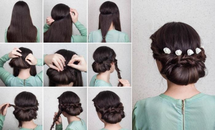 peinados faciles pelo largo con instrucciones para hacer en casa, precioso recogido accesorios decorativos
