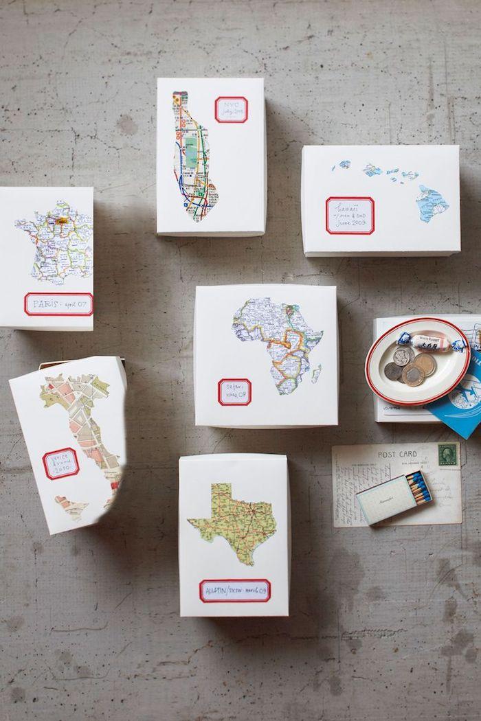 ideas de regalos para viajeros, qué regalar a un amigo que ama los viajes, cajas personalizadas con mapas de ciudades para visitar