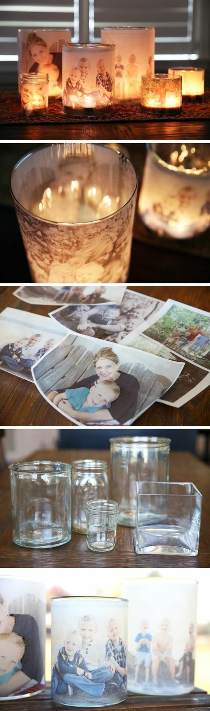ideas para regalar únicas, regalos especiales con fotos, candelabros DIY con fotos de familia