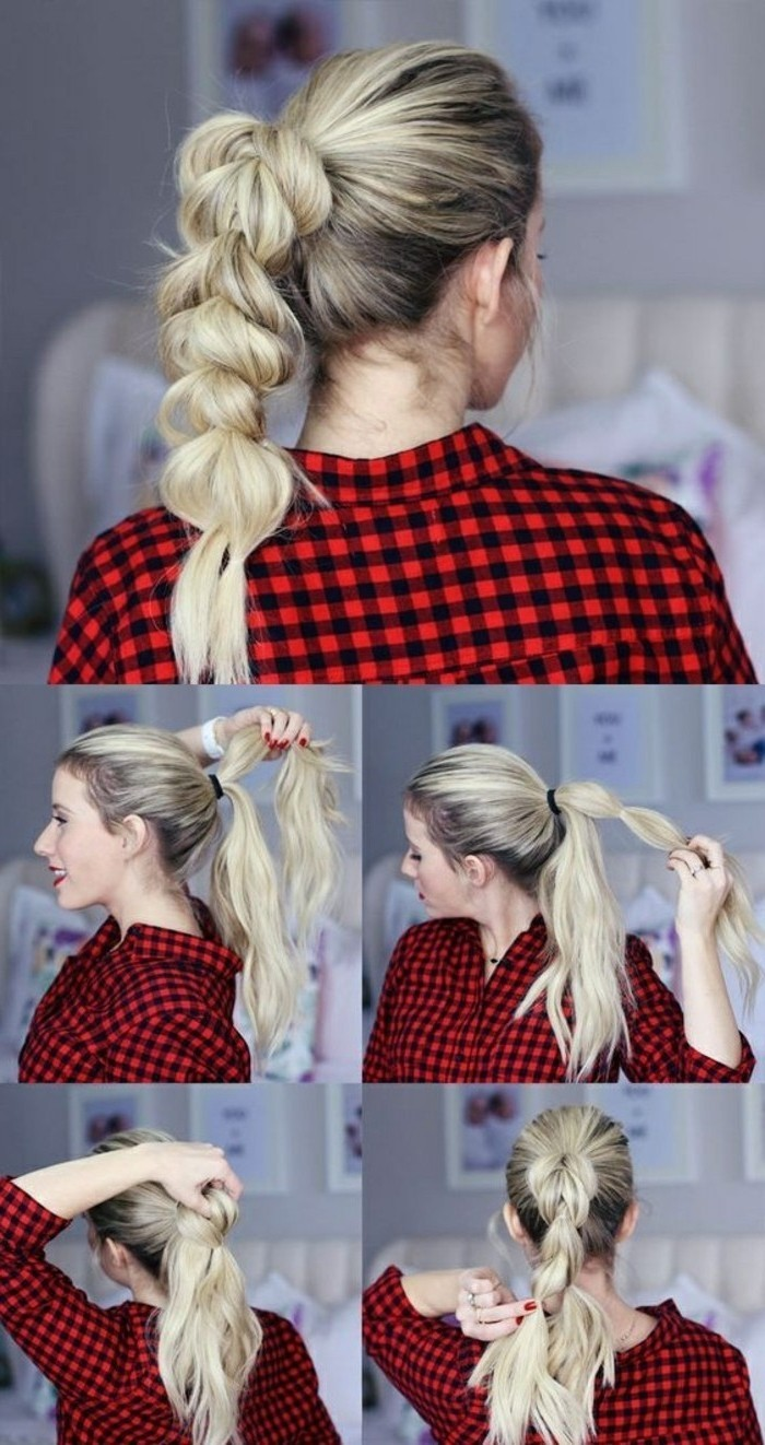 las mejores ideas de peinados faciles pelo largo paso a paso, coleta burbuja original paso a paso