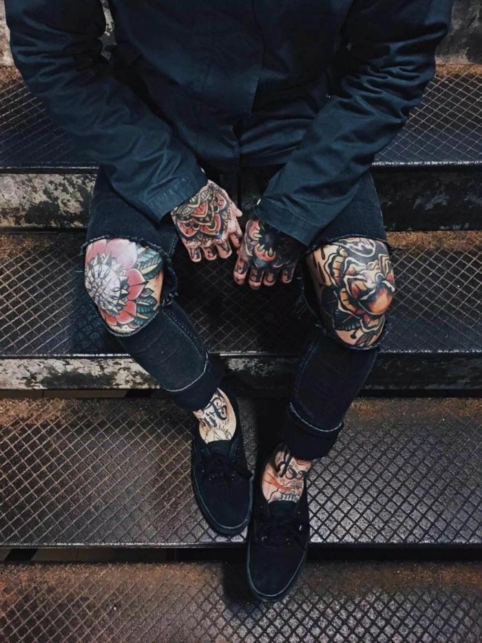 tatuajes tumblr en las manos y las piernas, tatuaje cuerpo entero hombre, diseños de tatuajes únicos