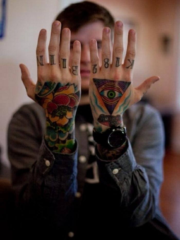 coloridos ejemplos de tatuajes en los dedos y las manos, diseños de tatuajes geométricos