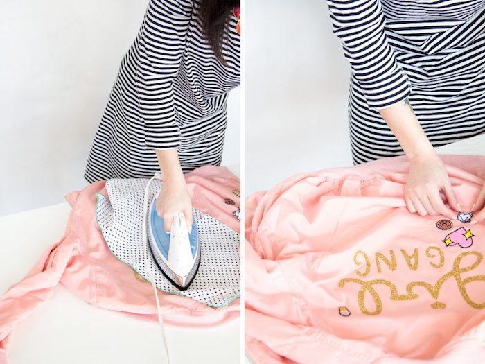 regalos para mujeres super originales para hacer en casa, chaqueta estampada paso a paso