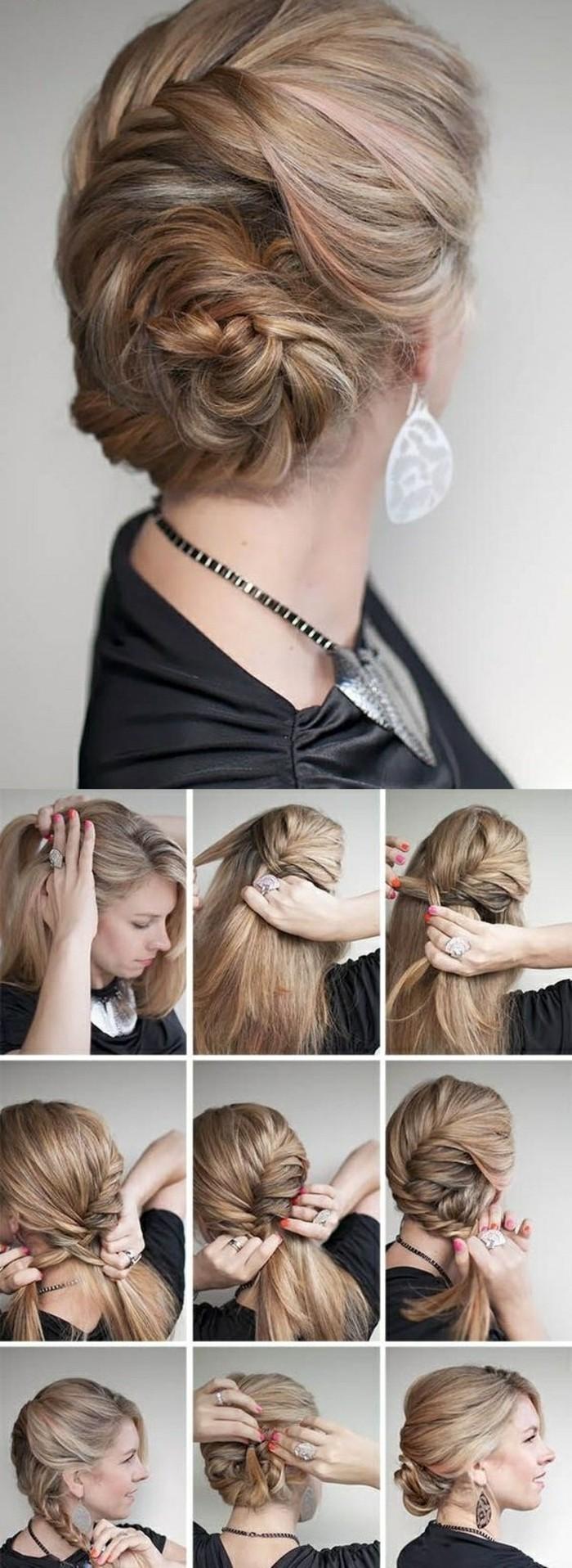 peinados faciles pelo largo paso, peinados de moda para hacer en casa, recogido trenzado