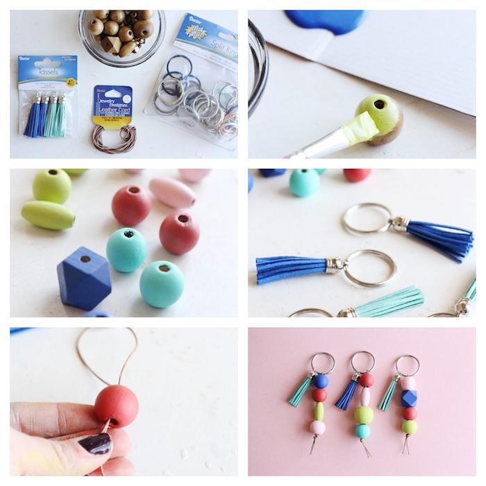como hacer llaveros coloridos y originales con cuentas coloridas, regalos pequeños para cumpleaños, tutoriales de manualidades