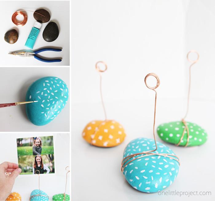 materiales para hacer marcos de fotos pequeñas con piedras pintadas y alambre, ideas de regalos caseros originales