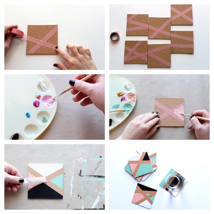 pasos para hacer posavasos modernos y bonitos de corcho, decoracion casera original para regalar, ideas de regalos
