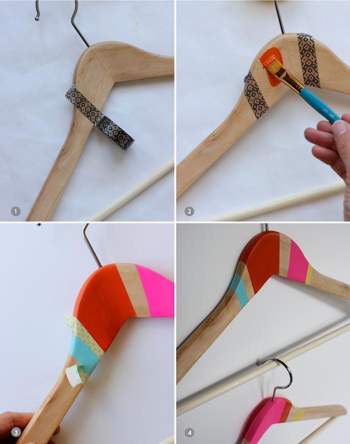 percha decorada con pintura y washi tape para regalar, ideas de regalos artesanales bonitos, fotos de regalos DIY