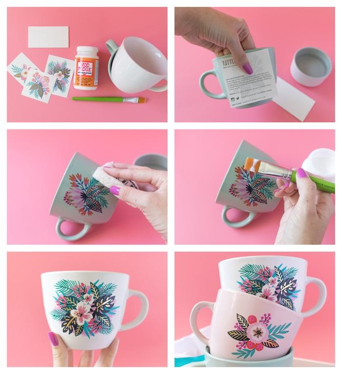 tazas personalizadas decoradas con pegatinas y pegamiento mod podge, ideas de regalos para tu mejor amiga en fotos