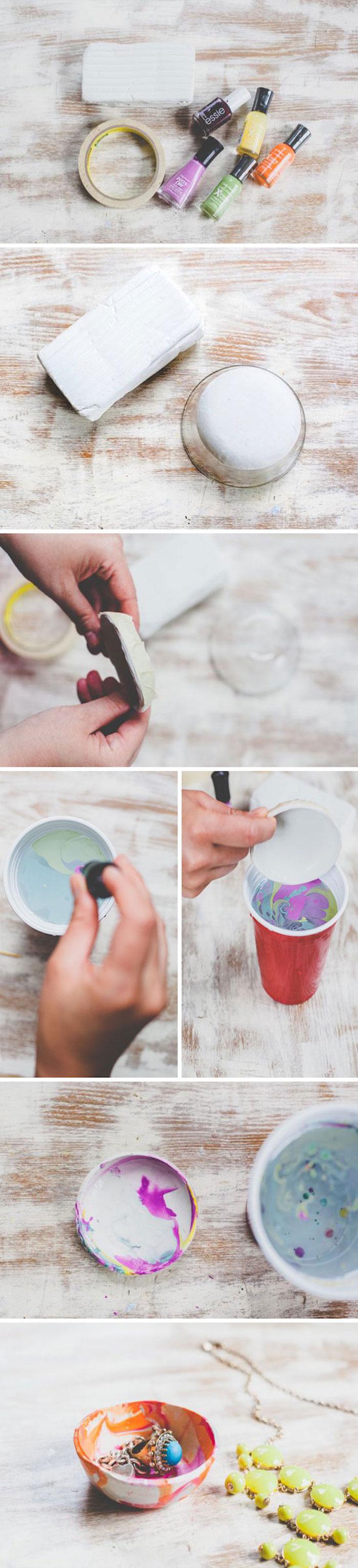 ideas para hacer un recipiente de arcilla decorativo para guardar joyas, manualidades paso a paso en bonitas imagenes