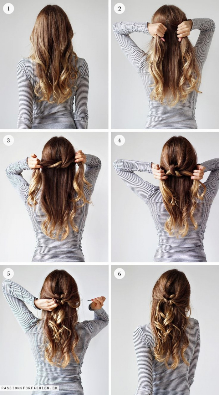 semirecogidos bonitos paso a paso, ideas de peinados de moda para cabello largo en imagines