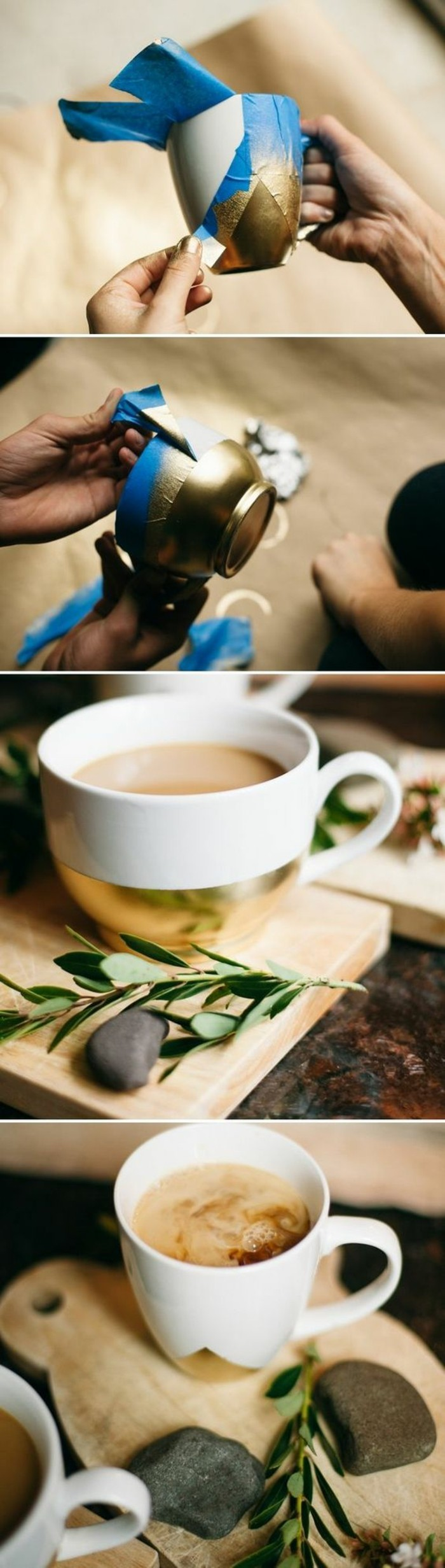 originales ideas para regalar en navidad, taza de café decorada en dorado paso a paso