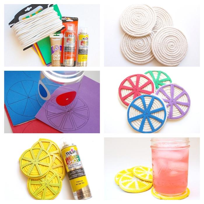 ideas de manualidades de verano para regalar, posavasos en forma de cítricos en colores vibrantes, ideas de regalos DIY