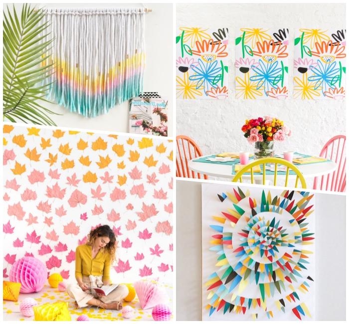 coloridos ejemplos de decoracion pared habitacion, como decorar la pared de manera encantadora para el verano