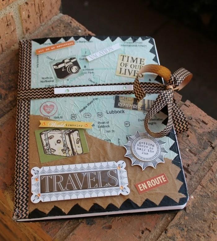 cuaderno de viaje DIY para regalar, bonitas ideas de regalos especiales, manualidades fáciles para regalar, ideas de manualidades de papel
