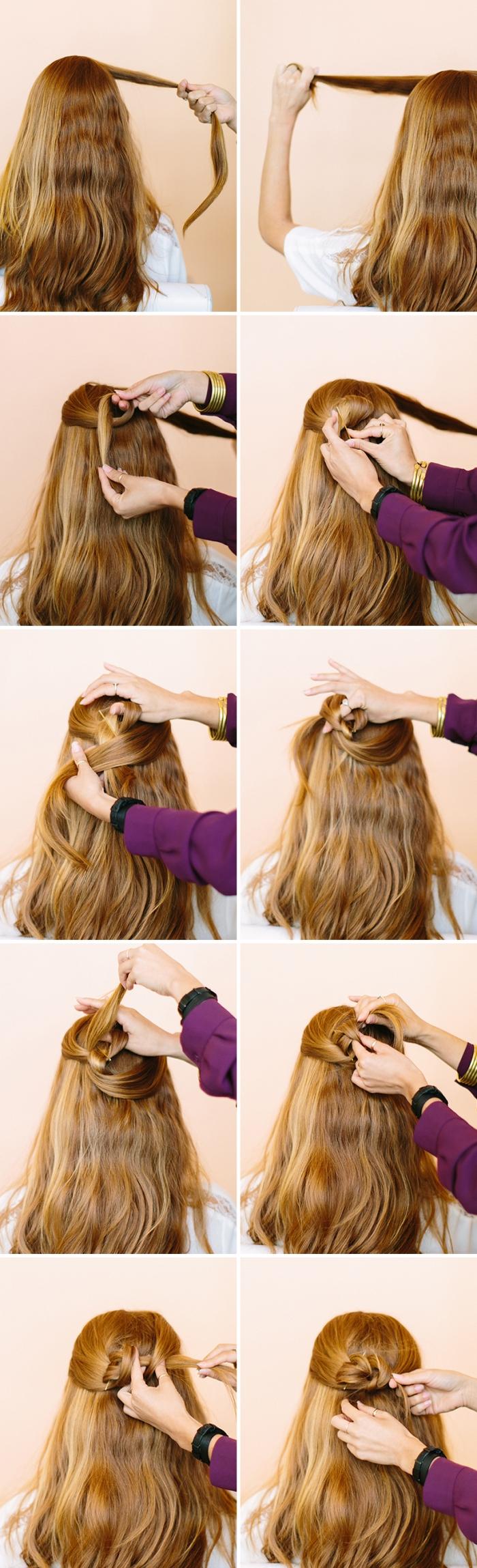 semirecogidos originales con tutoriales en fotos, peinados faciles pelo largo ondulado paso a paso