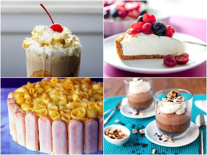 postres fríos y tartas frias sin horno en imagines, cuatro propuestas super ricas de postres fríos