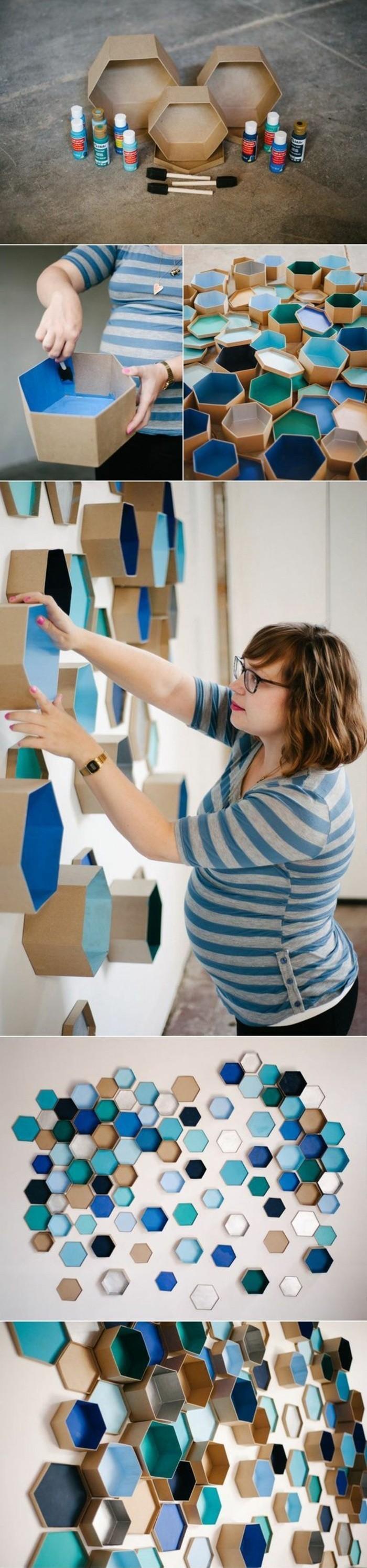 como hacer una decoración bonita para la pared, cajas de cartón pintadas en colores bonitos
