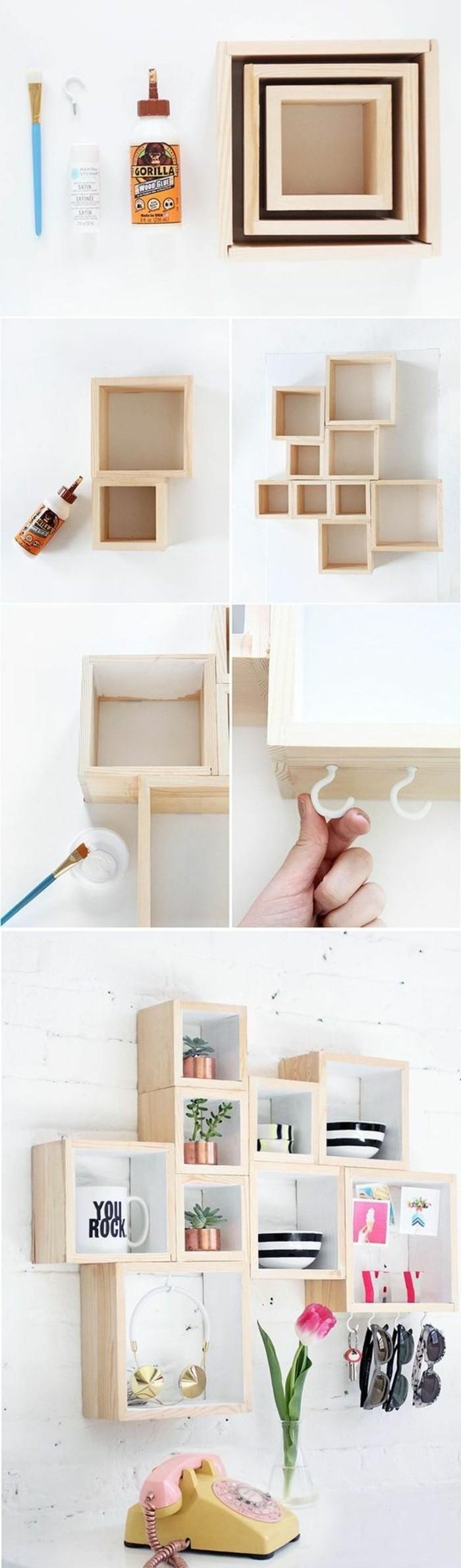 únicas propuestas de decoracion pared dormitorio, decoración con estanterías de madera