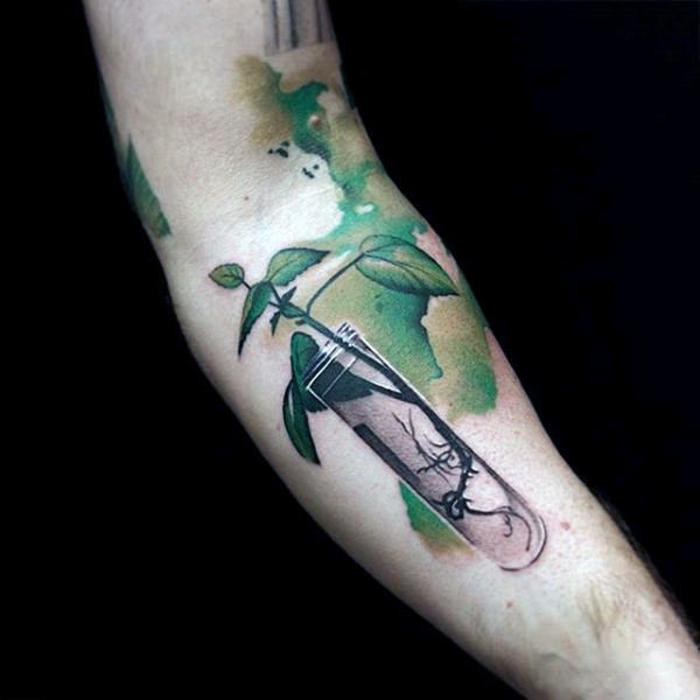 tatuaje antebrazo hombre con motivos botánicos, estilos de tatuajes únicos, más de 90 diseños de tattoos