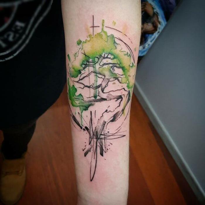 magníficas propuestas de tattoos acuarela, estilos de tatuajes únicos en el antebrazo mujer