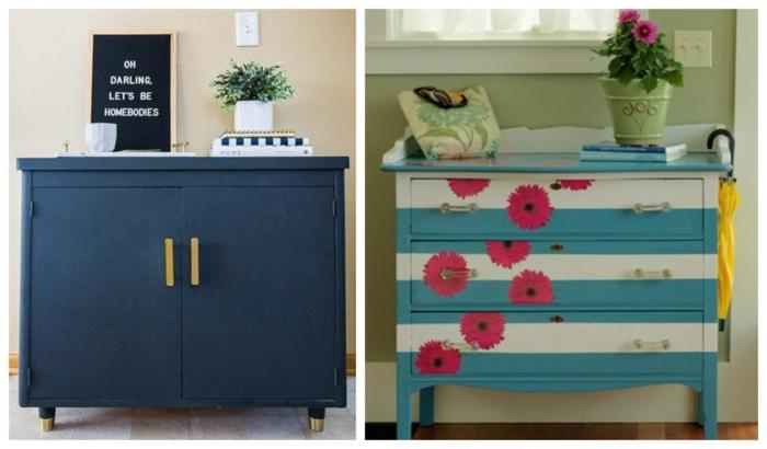 dos ejemplos sobre como pintar muebles de madera sin lijar, armarios bonitos pintados en color azul