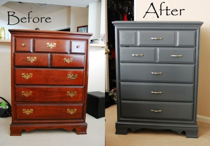 pintar muebles de madera sin lijar antes y después, fotos de muebles renovados en estilo vintage