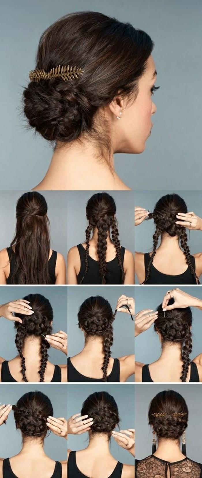 cómo hacer un bollo elegante de tres trenzas, peinados de moda pelo largo para ocasiones especiales