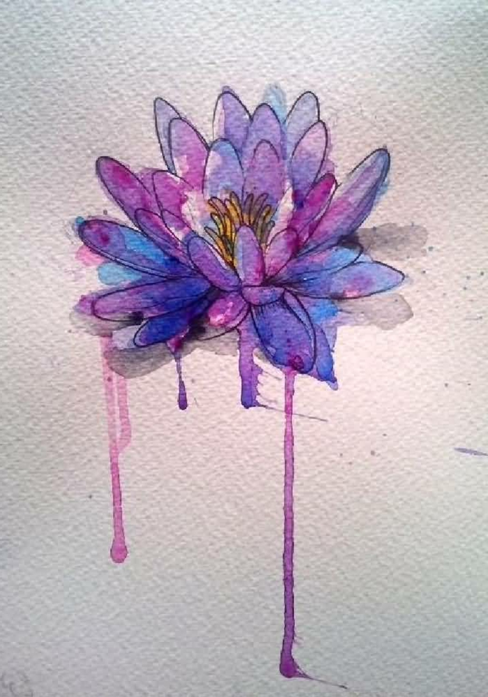 tatuajes de flores con acuarela, diseños de tatuajes tumblr en colores bonitos, tatuajes florales únicos
