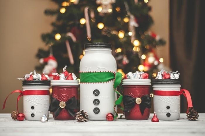 regalos hechos a mano para Navidad, frascos decorativos para Navidad en blanco y rojo, mini frascos para decorar la casa