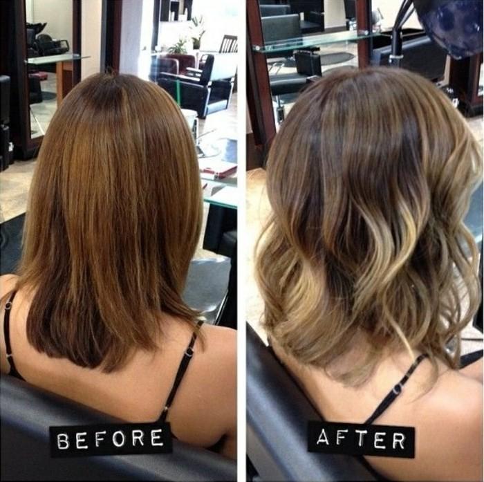 fotos de mujeres con mechas balayage antes y después, pelo negro con mechas paso a paso