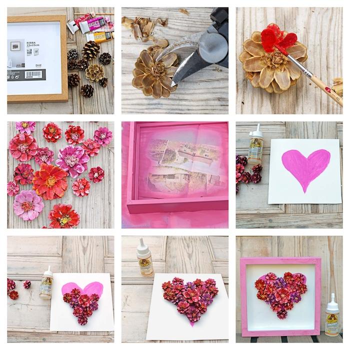 como hacer un cuadro decorativo DIY con piñas, piñas pintadas como flores en forma de corazón, ideas de regalos DIY