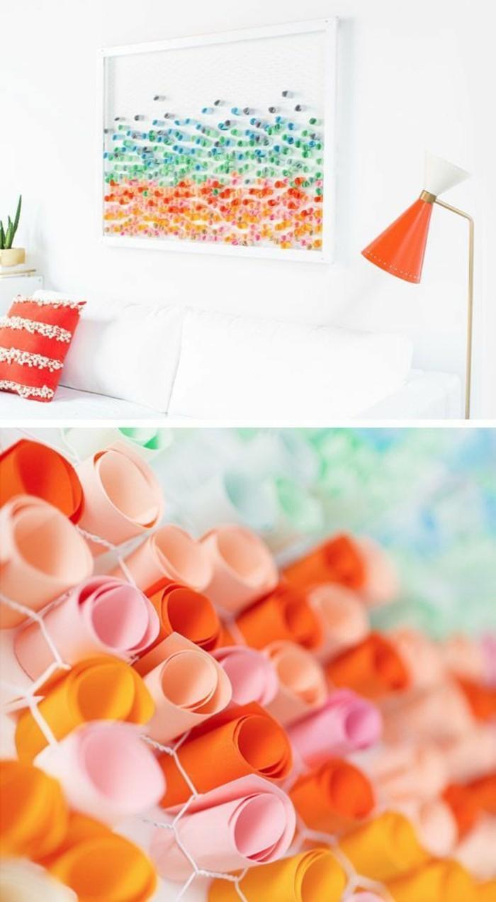decoracion pared dormitorio en colores, detalles para decorar el hogar, manualidades con papel