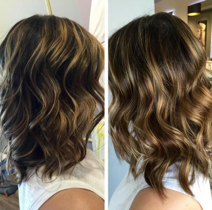 media melena color castaño oscuro con mechas en dorado, ejemplos bonitos de color de pelo para morenas