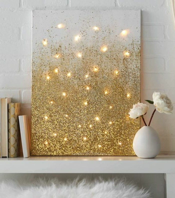 magnífica decoración para la pared, bonito cuadro en dorado hecho a mano, ideas de panel decorativo pared